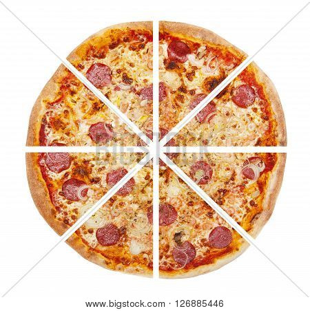 Top view of pizza isolated on the white background