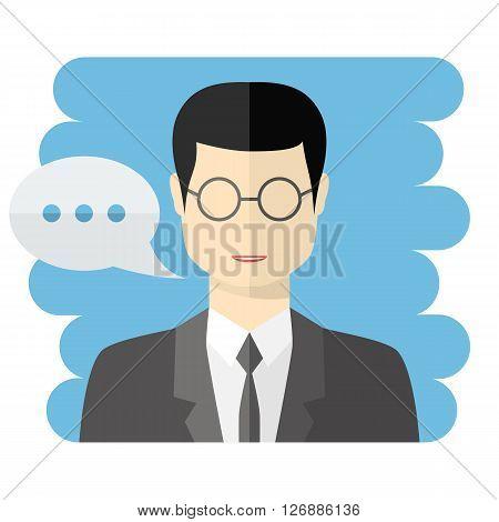 Teacher or businessman vector avatar.Vector Teacher icon.Male businessman avatar with a talking bubble, in flat style.Teacher with speech bubble.Vector businessman icon flat style.Male avatar icon