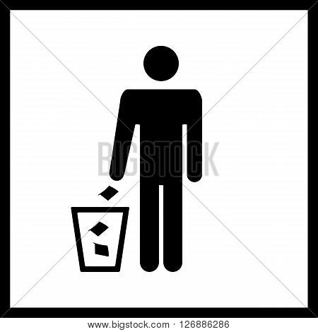Trash bin sign.Vector trash bin sign and man icon isolated on white background.Silhouette of a man, throwing garbage in a bin.