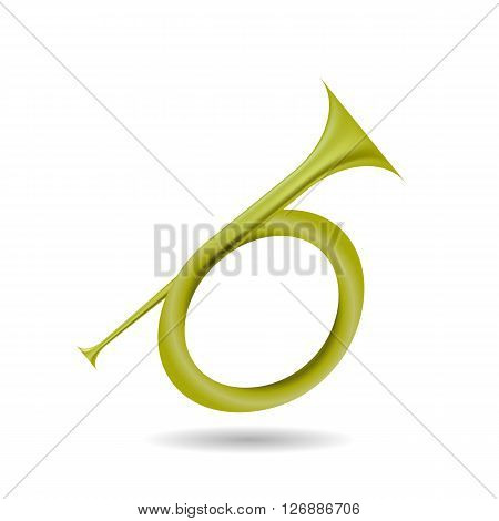 Musical Metal  Horn Icon Isolated on White Background. Hunting Horn Icon.  Hunting Horn Icon Web Design. Hunting Horn Icon Concept. Hunting Horn Icon Metal Symbol of Hanting.   Hunting Horn Sign