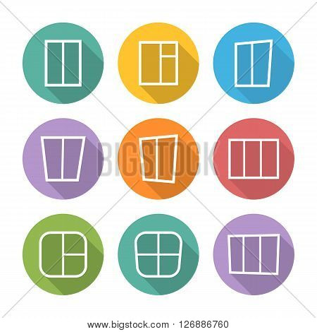 Window vector icons set.Window icon, white.Window icons set in flat style.Window icons silhouette, house window vector icons, window isolated.Window icons set.Window sign, symbol