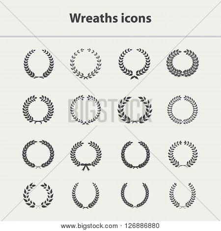 Wreath vector icons set.Wreath icon, laurel award, wreath circle.Wreath icons silhouette, laurel vector icons, wreath isolated.Wreath icons set.Laurel sign, award