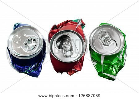 Row of Crushed Cans on White Background