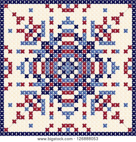 Cross stitch pattern. Textile pattern, tapestry background and embroidery pattern and tablecloth texture. Designed by pillows, tablecloths, bedspreads. Vector Illustration in red and blue colors