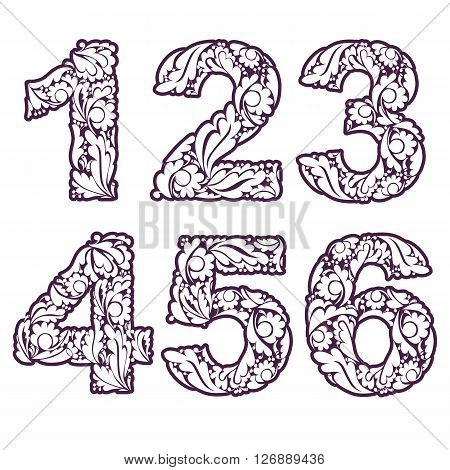 Stylish Single Color Figures With Herbal Ornament. Beautiful Numbers With Floral Pattern, 1, 2, 3, 4