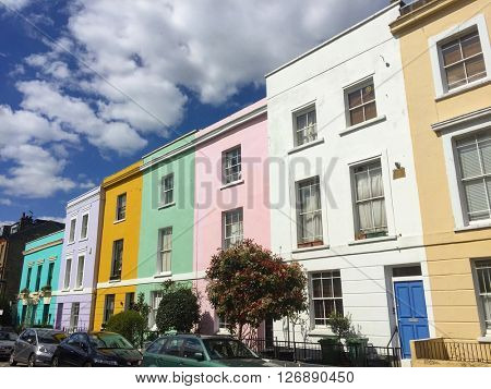LONDON - APRIL 19: Vibrant terraced houses on April 19, 2016 in Kentish Town, London, UK.