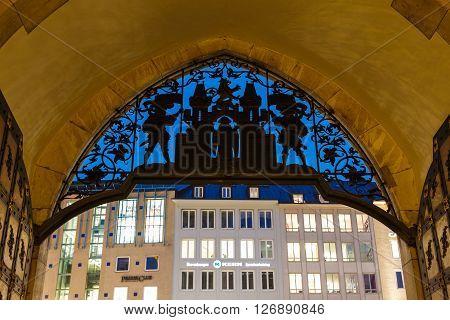 Munich Germany - January 08 2016: Decorated gate to Cityhall of Munich evening time