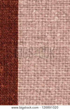 Textile weft fabric patch rust canvas sackcloth material natural background