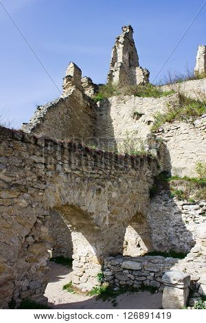 Ruins of castle in medieval village of Durnstein in Lower Austria. In castle above town King Richard I of England was held captive by Leopold V Duke of Austria.