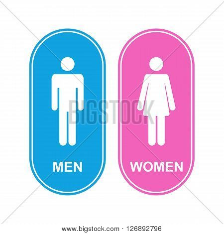 Male and female WC icon denoting toilet and restroom facilities for both men and women with white male and female silhouetted figures in flat style on a pink and blue