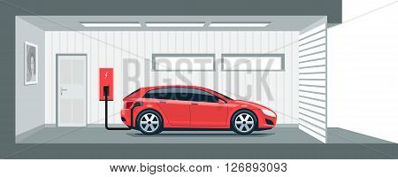Flat vector illustration of a red electric car charging at the charger station point inside home garage. Integrated smart domestic electromobility e-motion concept.