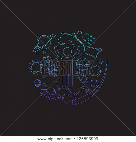 Space logo. Cosmos elements. Space and universe elements arranged in a circle with cosmos sign. Planets, stars, human, rocket ship, sun, meteor, comet, ufo, satellite, moon. Vector line art.
