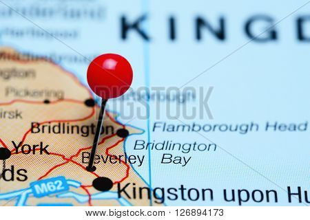Beverley pinned on a map of UK