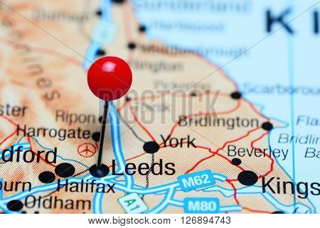 Leeds pinned on a map of UK