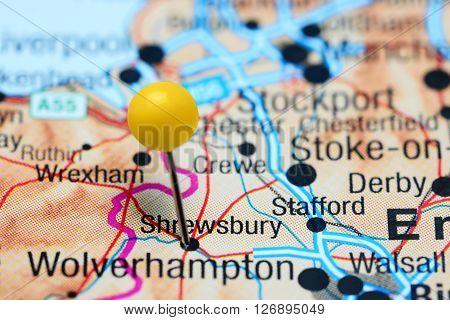Shrewsbury pinned on a map of UK