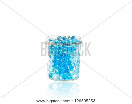 glass vase with hydrogel isolated on white background with reflection