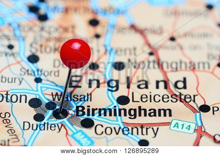 Birmingham pinned on a map of UK