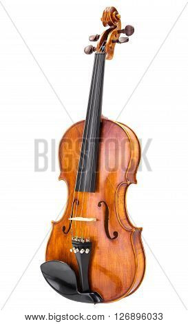 Handmade wooden violin in perspective, isolated on white