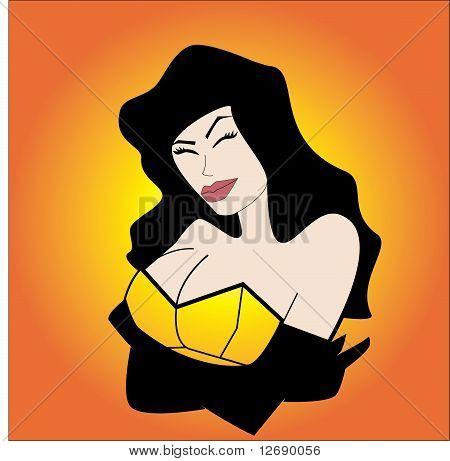 woman in yellow corset