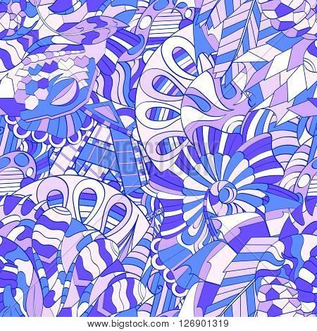 Tracery Seamless Calming Pattern. Mehendi Design. Ethnic Colorful Harmonious Doodle Texture. Indiffe