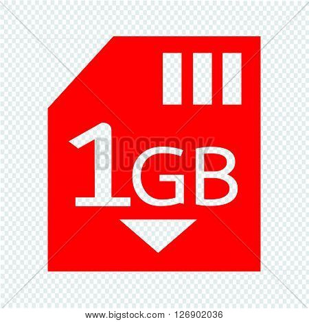 Memory Card 1 Gb icon Illustration design