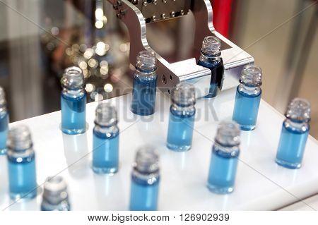 Blue Liquid In Laboratory Test Tubes