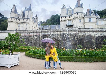 Beautiful Family Of Four In Front Of Usse Castle, Indre-et-loire