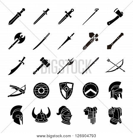 Arms and Armor glyph vector icons collection