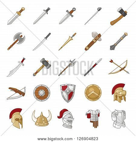 Arms and Armor color flat vector icons