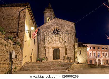 Beautiful church in San Quirico Dorcia tuscan town