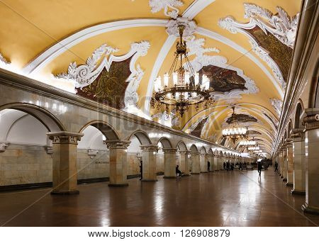 MOSCOW - MARCH 3: Komsomolskaya metro station on March 3 2016 in Moscow. Komsomolskaya is one of the most attractive metro station in Moscow.