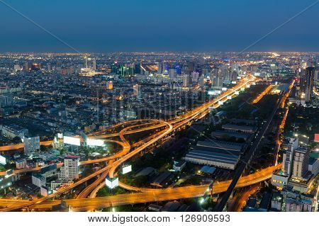 Twilight, highway interchanged night view, aerial view, long exposure