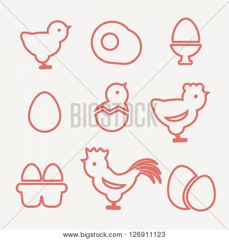 Egg icons. Egg food, breakfast egg, animal egg chicken vector