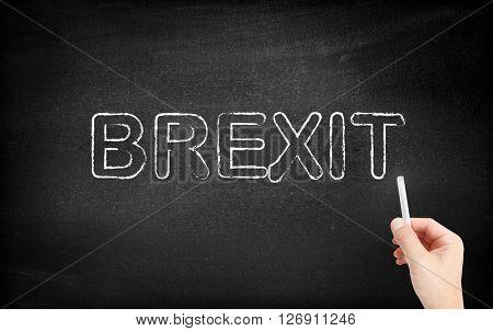 Brexit written on white blackboard