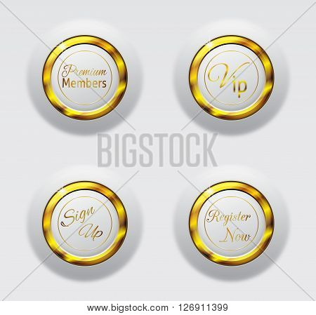 web button collection white and gold color