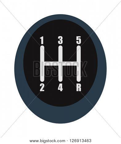Manual speed transmission shifter modern car drive stick knob, transportation, forward vector.