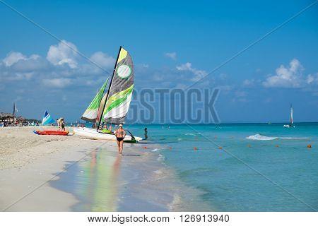 VARADERO, CUBA - APRIL 13,2016 : The beautiful beach of Varadero in Cuba on a sunny  day
