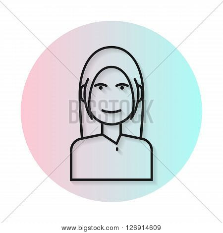 Flat line icon hairstyle woman. Gradient transparent shadow. Long hair with bangs. Vector flat illustration.