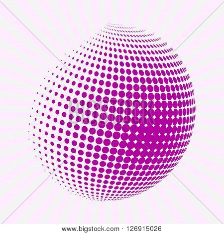 Halftone pink circle. Half tone circle. Rounded pink half tone shape on background with sun burst.