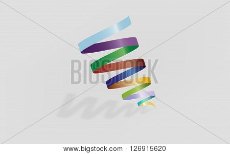 Abtract spiral logo element. Colorful tornado shape. Colorful gradients on spiral with shadow and reflection.