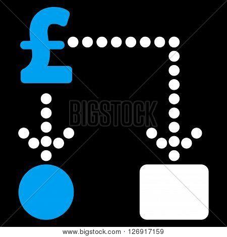 Pound Cashflow vector icon. Pound Cashflow icon symbol. Pound Cashflow icon image. Pound Cashflow icon picture. Pound Cashflow pictogram. Flat pound cashflow icon.