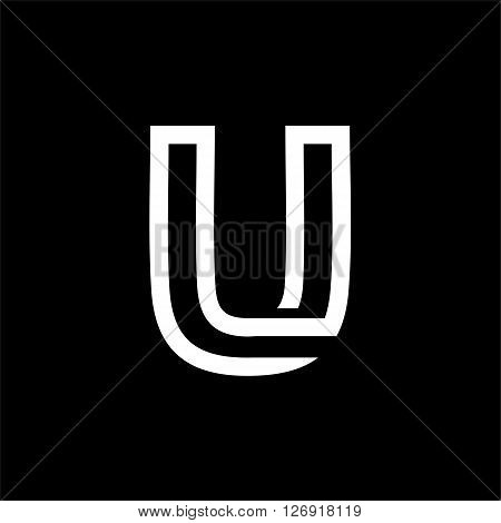 Capital letter U. From the white interwoven strips on a black background. Template for emblem, logos and monograms.
