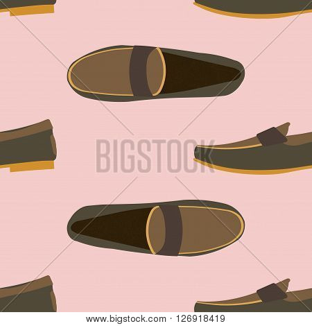 Moccasins seamless pattern background. Seamless pattern of a men moccasins
