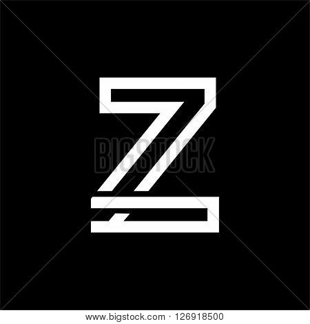 Capital letter Z. From the white interwoven strips on a black background. Template for emblem, logos and monograms.