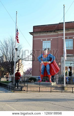 Metropolis, IL, USA - March 25, 2016: Visitors at the Superman Museum and hometown in Metropolis, Illinois