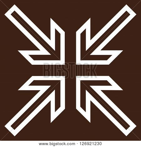 Implode Arrows vector icon. Style is outline icon symbol, white color, brown background.