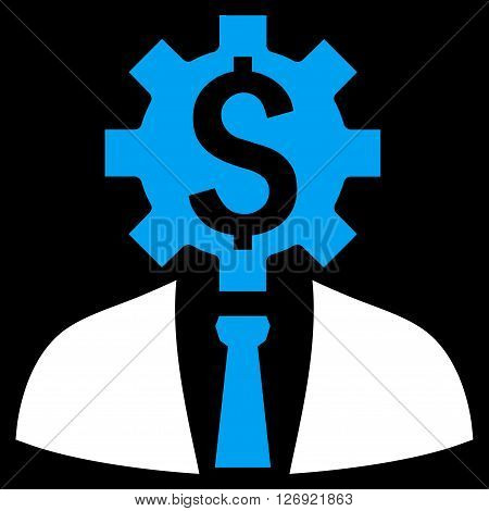 Office Worker vector icon. Style is bicolor flat symbol, blue and white colors, black background.