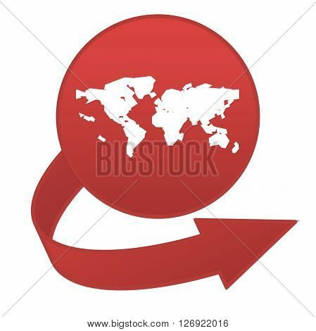 Red worldmap arrow button isolated in white background