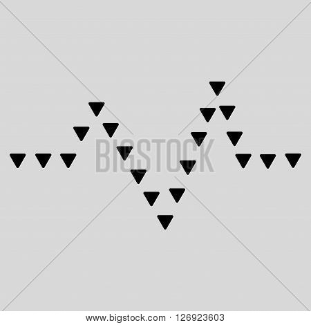 Dotted Pulse vector icon. Dotted Pulse icon symbol. Dotted Pulse icon image. Dotted Pulse icon picture. Dotted Pulse pictogram. Flat black dotted pulse icon. Isolated dotted pulse icon graphic.
