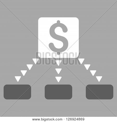 Cashout Scheme vector icon. Cashout Scheme icon symbol. Cashout Scheme icon image. Cashout Scheme icon picture. Cashout Scheme pictogram. Flat dark gray and white cashout scheme icon.